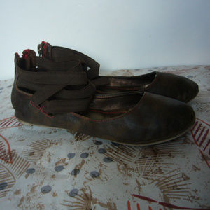 Bakers Brown Ankle strap Flats -Zip back! Size 6.5
